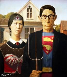 american Gothic parody superman and wonderwoman 5 stars phistars humor