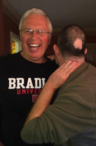 Dave Kegel,  my college roommate, mocks my follicular misfortune.